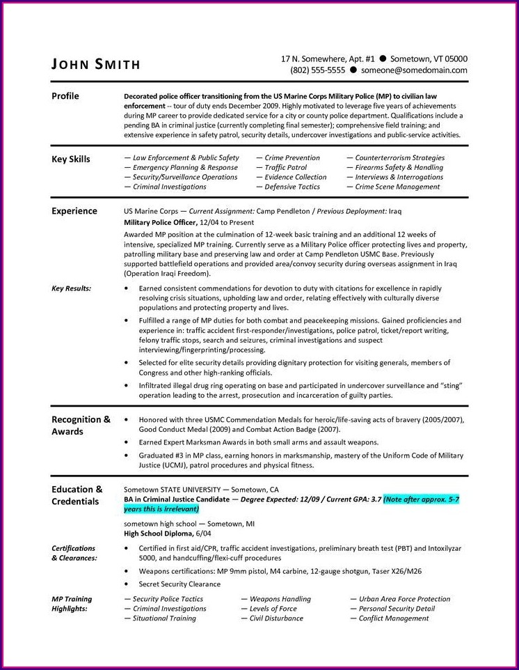 Military Resume To Civilian Template