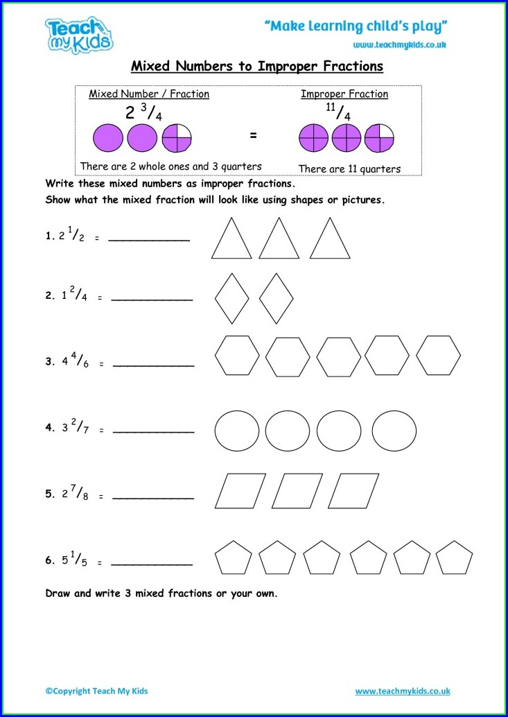 Mixed Numbers Using Shapes Worksheet