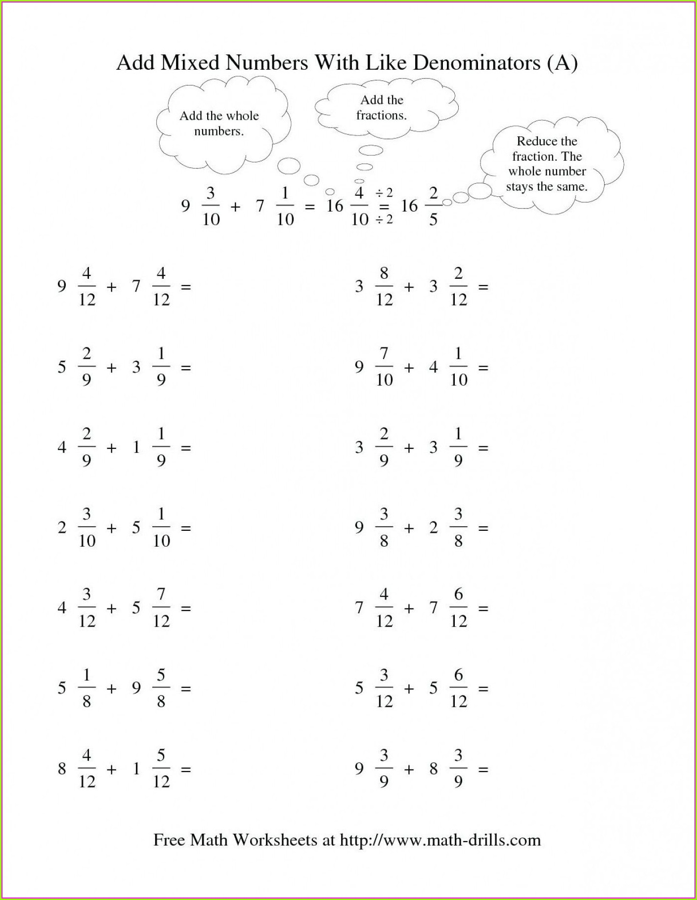 Mixed Numbers Worksheets Third Grade