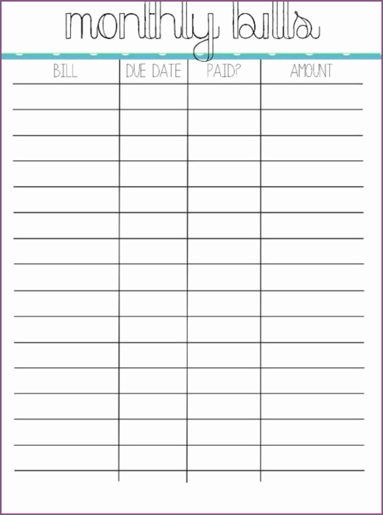 Monthly Budget Worksheet Due Dates