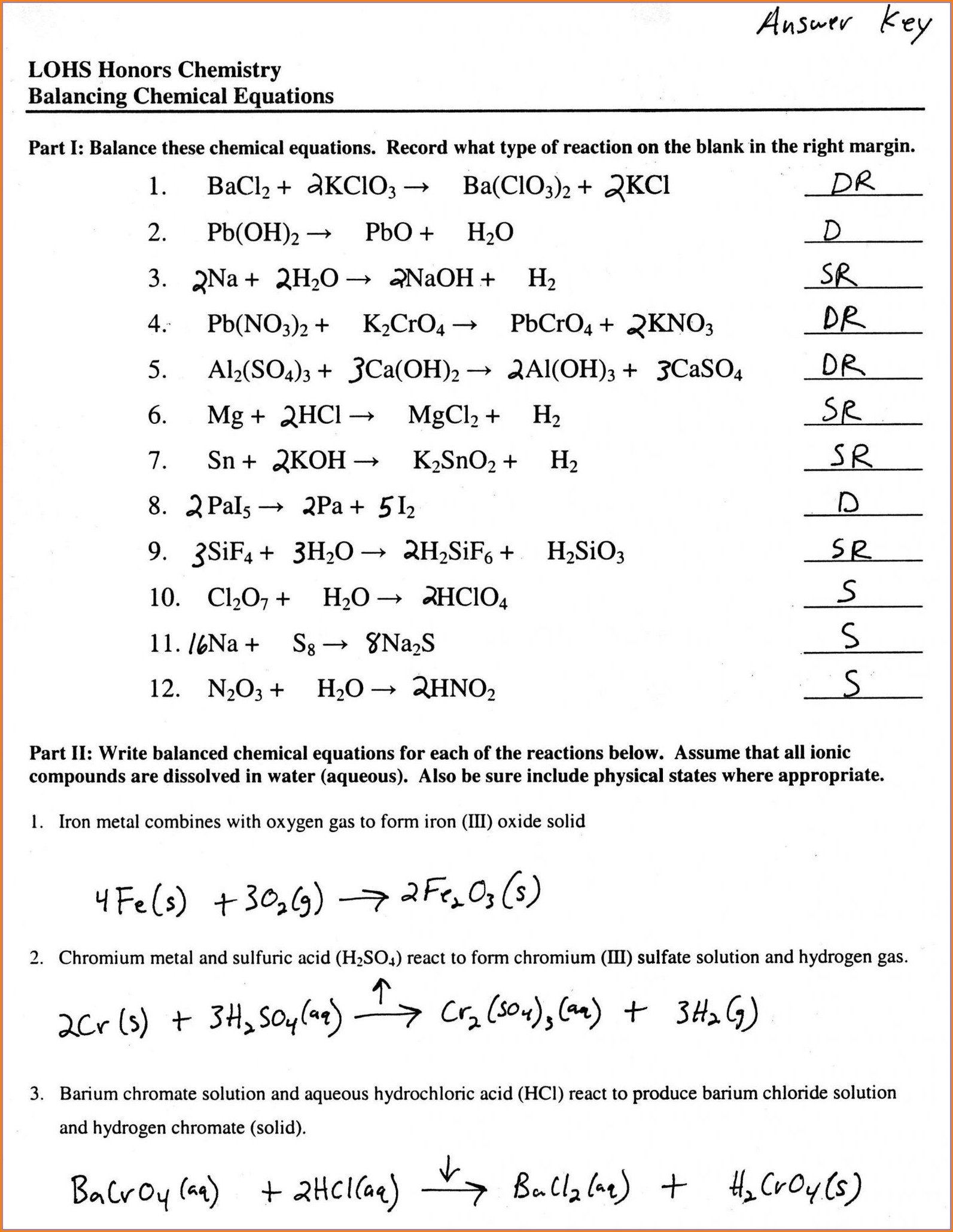 More Word Equations Worksheet