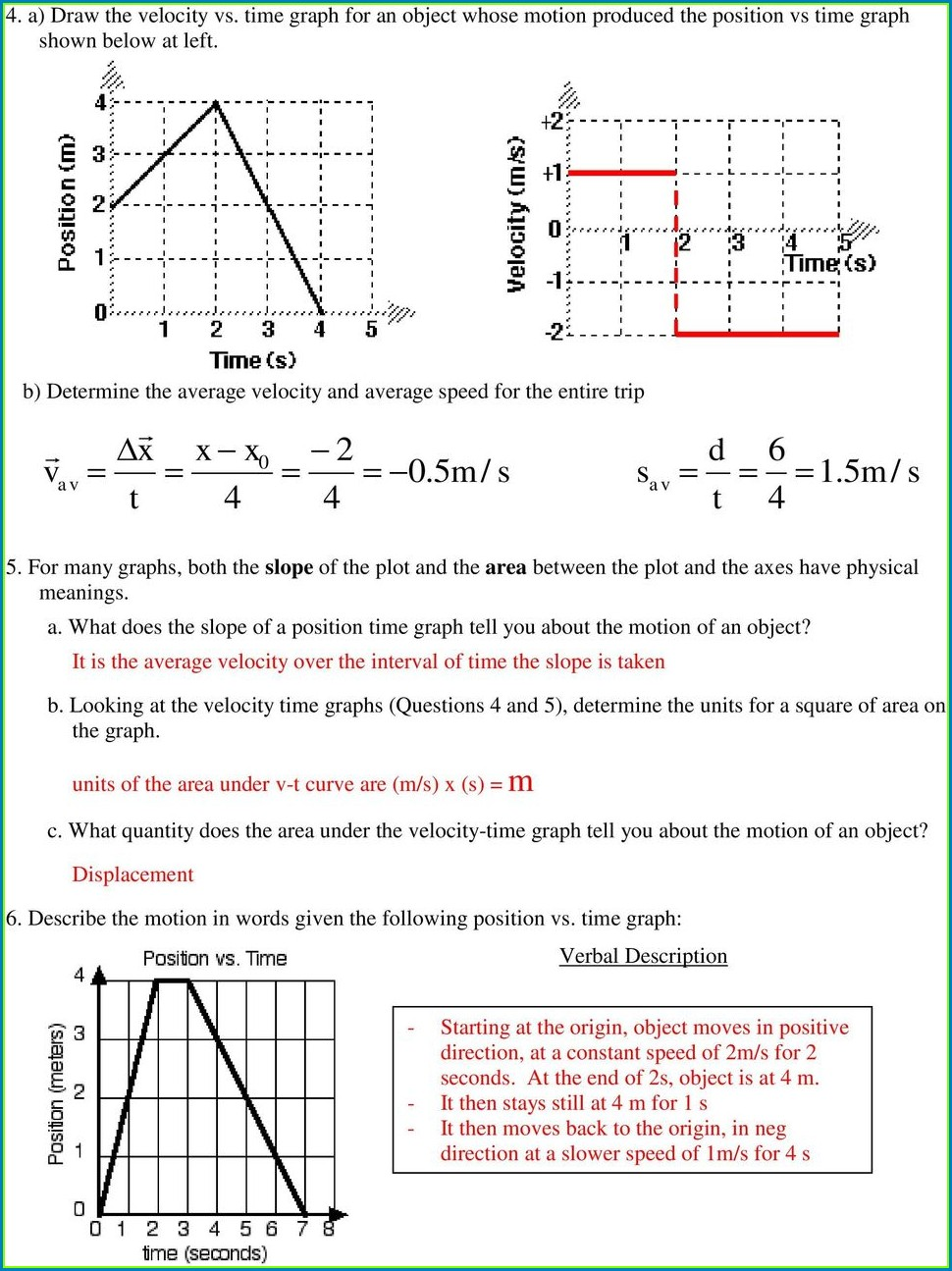Motion Review Worksheet Distance Time Graphs