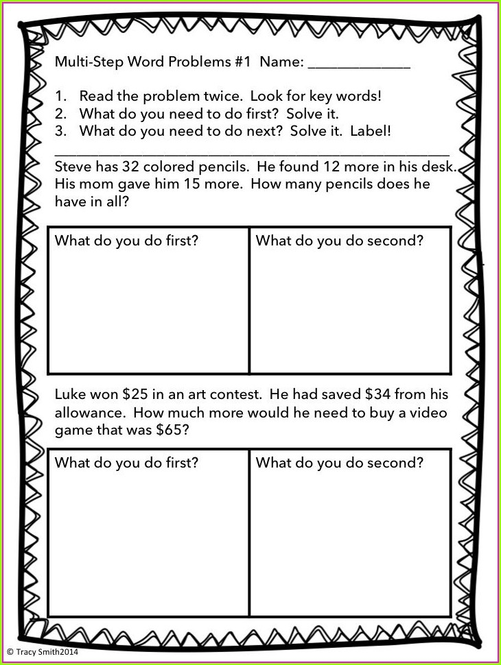 Multi Step Word Problems 4th Grade Worksheet