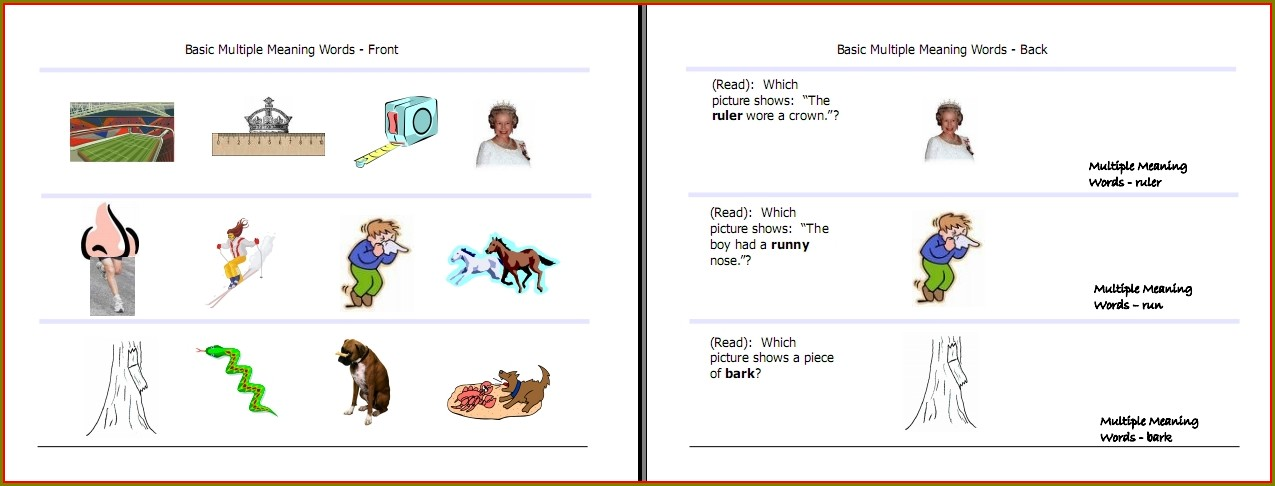 Multiple Meaning Words Worksheets 1st Grade Pdf