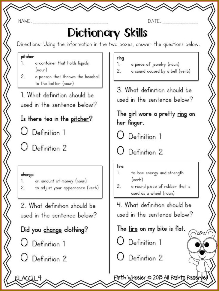 Multiple Meaning Words Worksheets 4th Grade Pdf