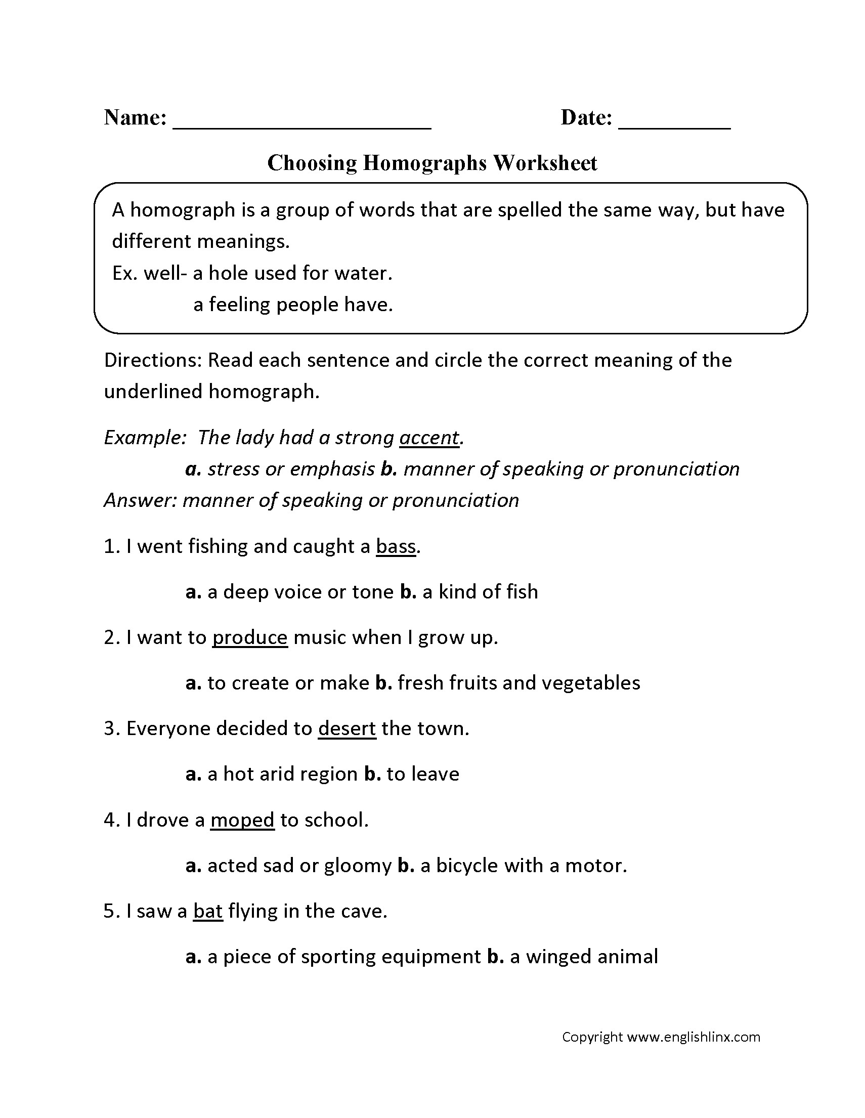 Multiple Meaning Words Worksheets 7th Grade