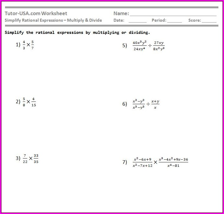 Multiplication And Division Of Rational Numbers Worksheet