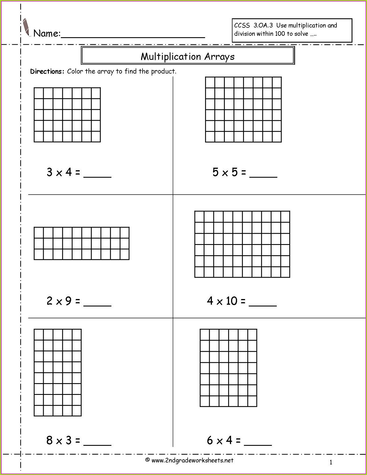 Multiplication Arrays Worksheet Year 3