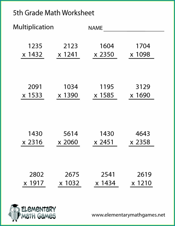 Multiplication Math Worksheets For 5th Grade