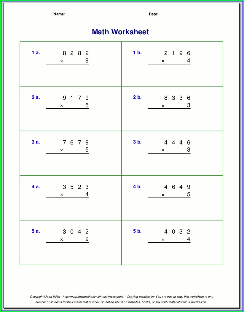 Multiplication Review Worksheet Grade 3