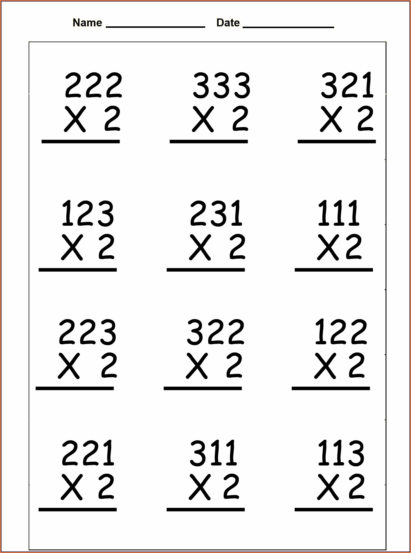 Multiplication Worksheet Three Digit By One Digit