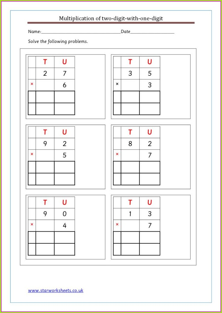 Multiplication Worksheet Year 1