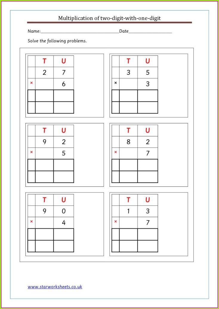 Multiplication Worksheet Year 1