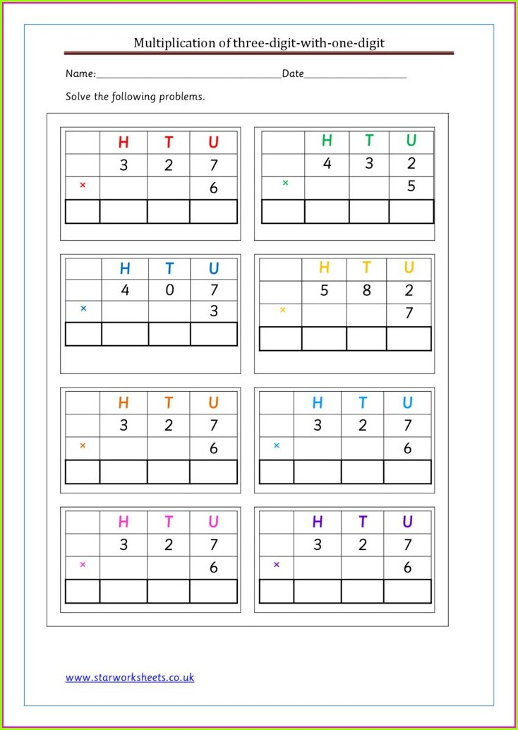 Multiplication Worksheet Year 3