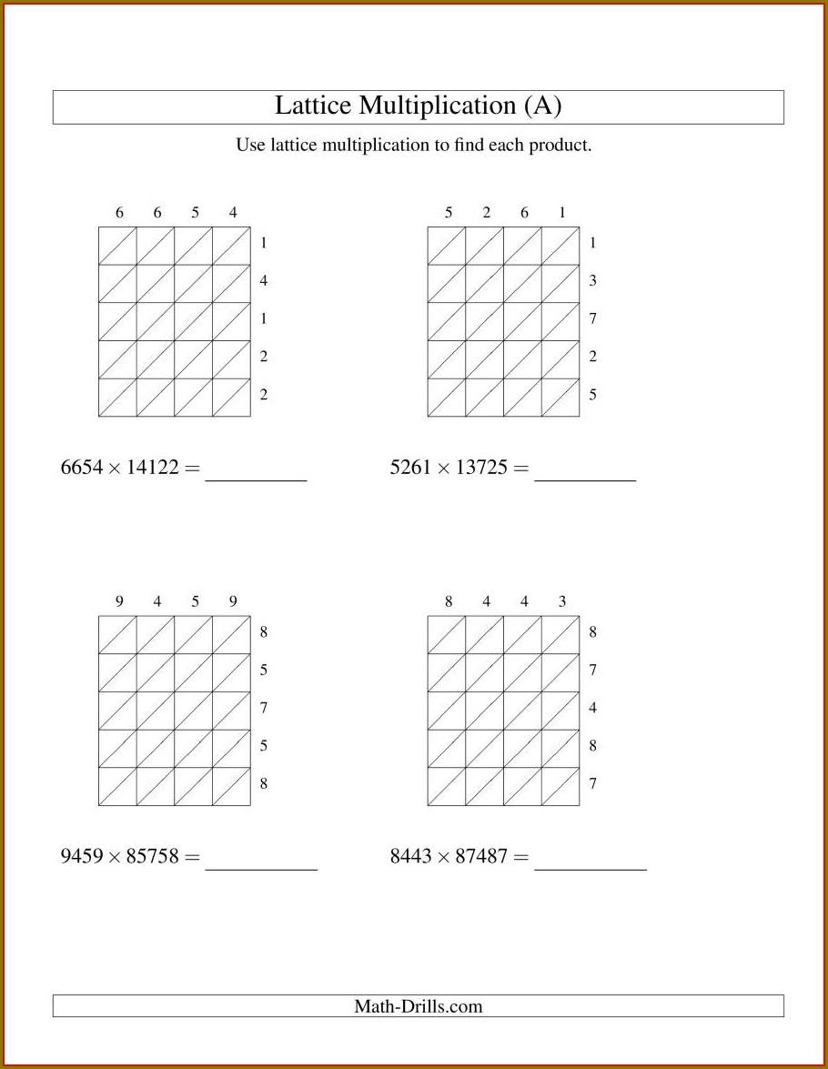 Multiplication Worksheets Ks2 Grid Method