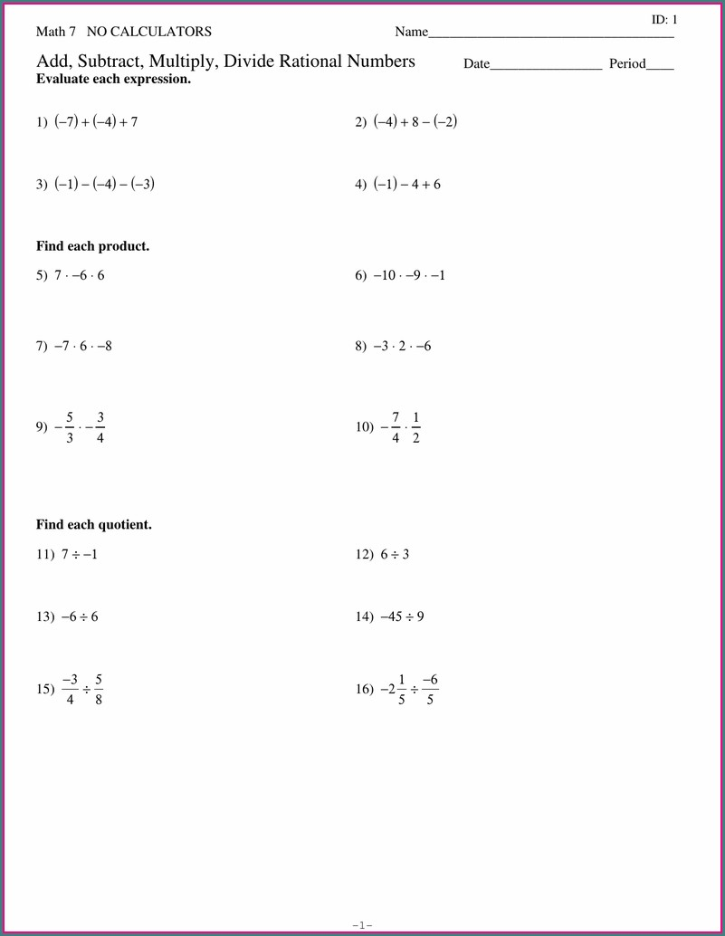 Multiplying And Dividing Rational Numbers Worksheet Answers