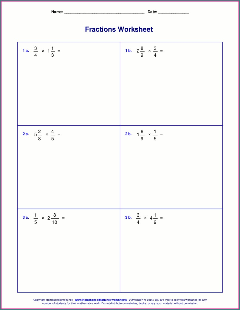 Multiplying Fractions With Whole Numbers Worksheets