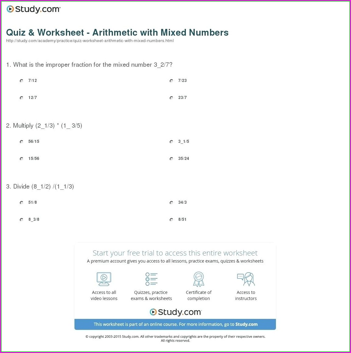 Multiplying Mixed Numbers Worksheet And Answers