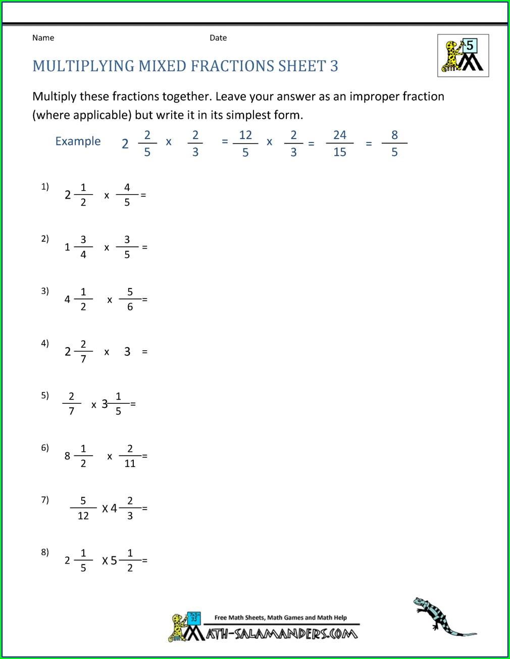 Multiplying Negative Mixed Numbers Worksheet