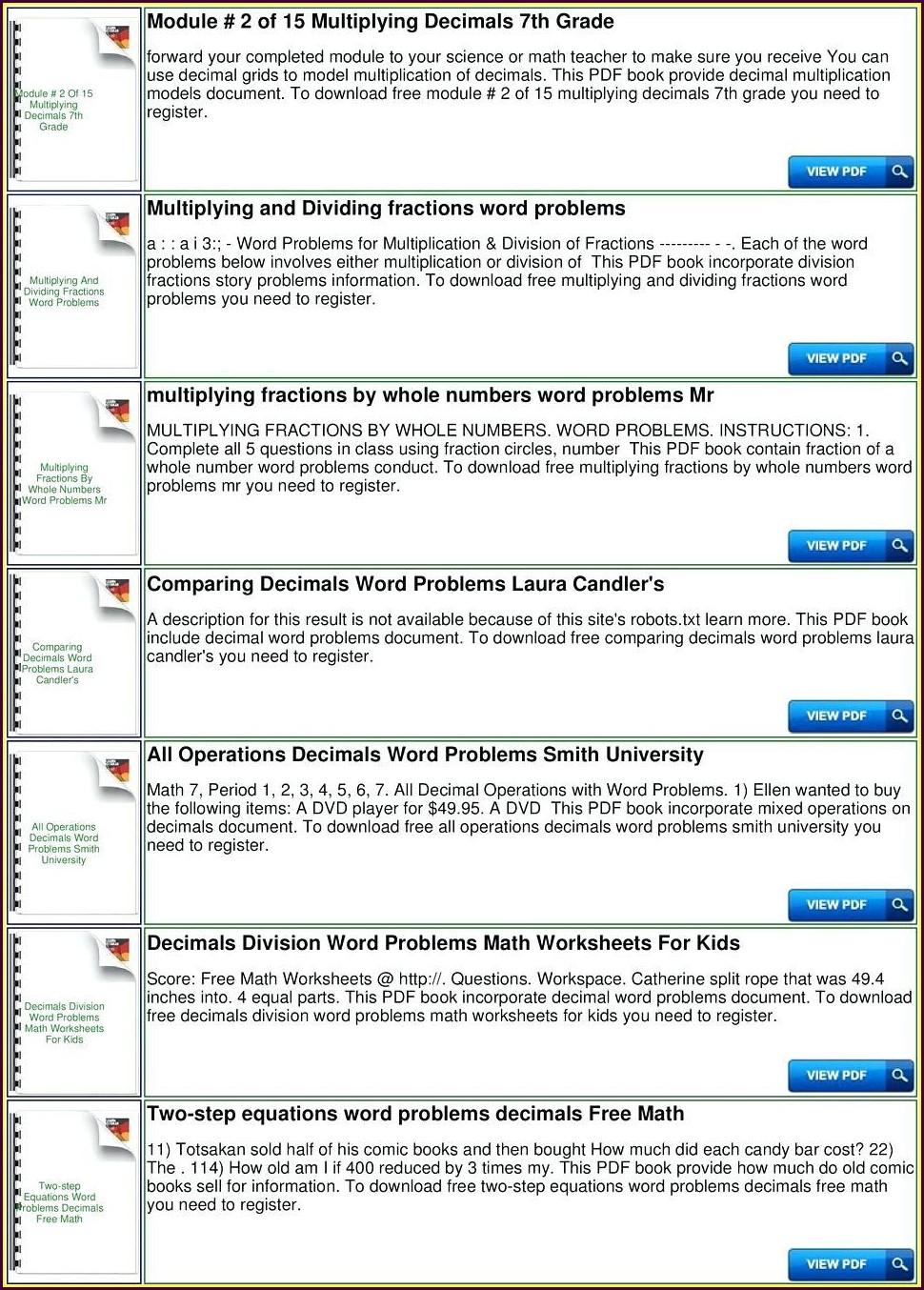 Multistep Decimal Word Problems Worksheets