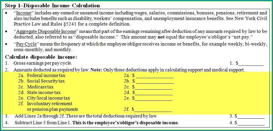 Nc Child Support Worksheet B Instructions
