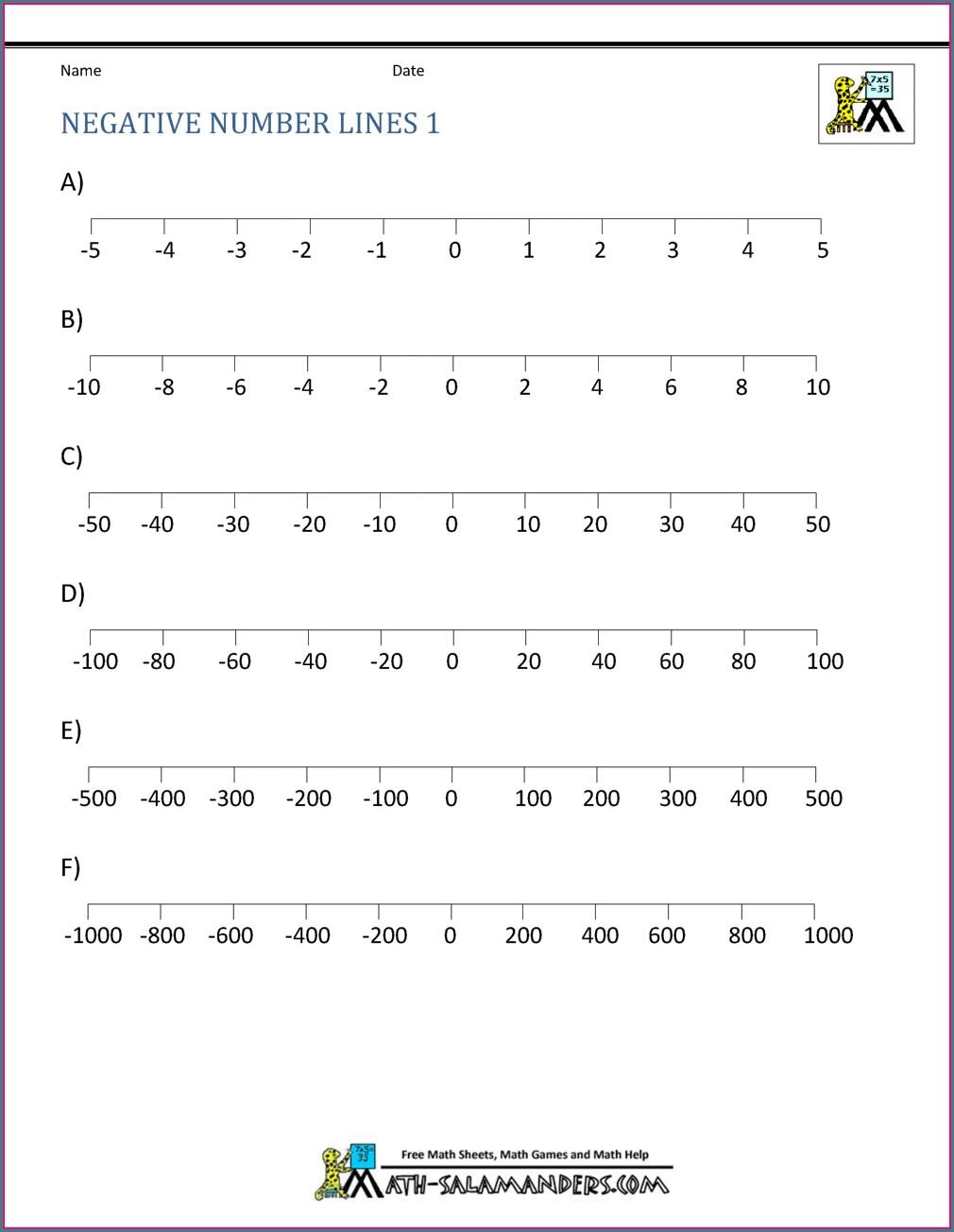 Negative Number Games Worksheets