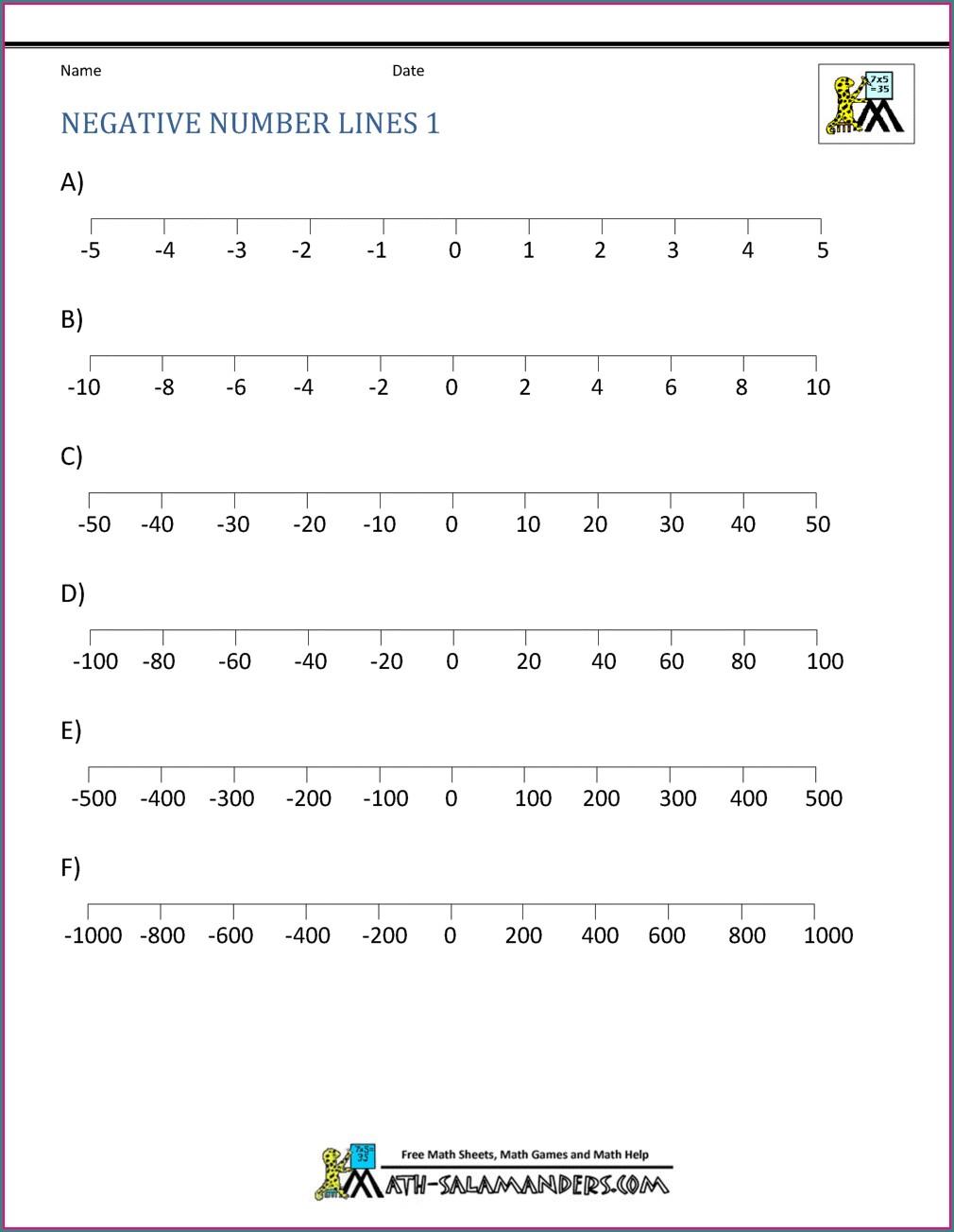 Negative Number Games Worksheets