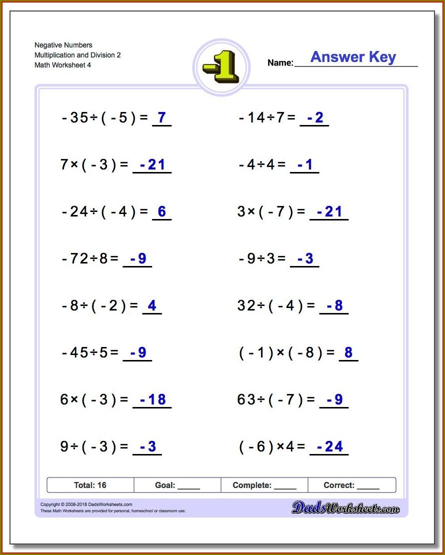 Negative Number Rules Worksheet