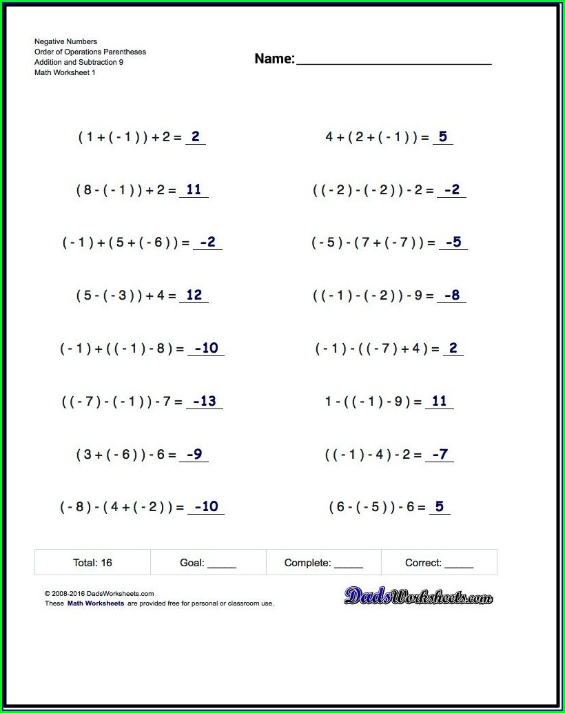 Negative Numbers Worksheet Level 6
