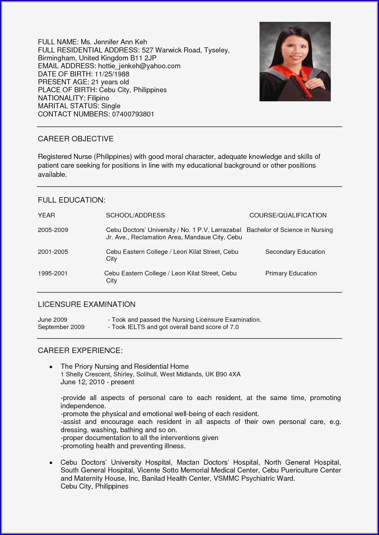 New Resume Format Pdf 2017