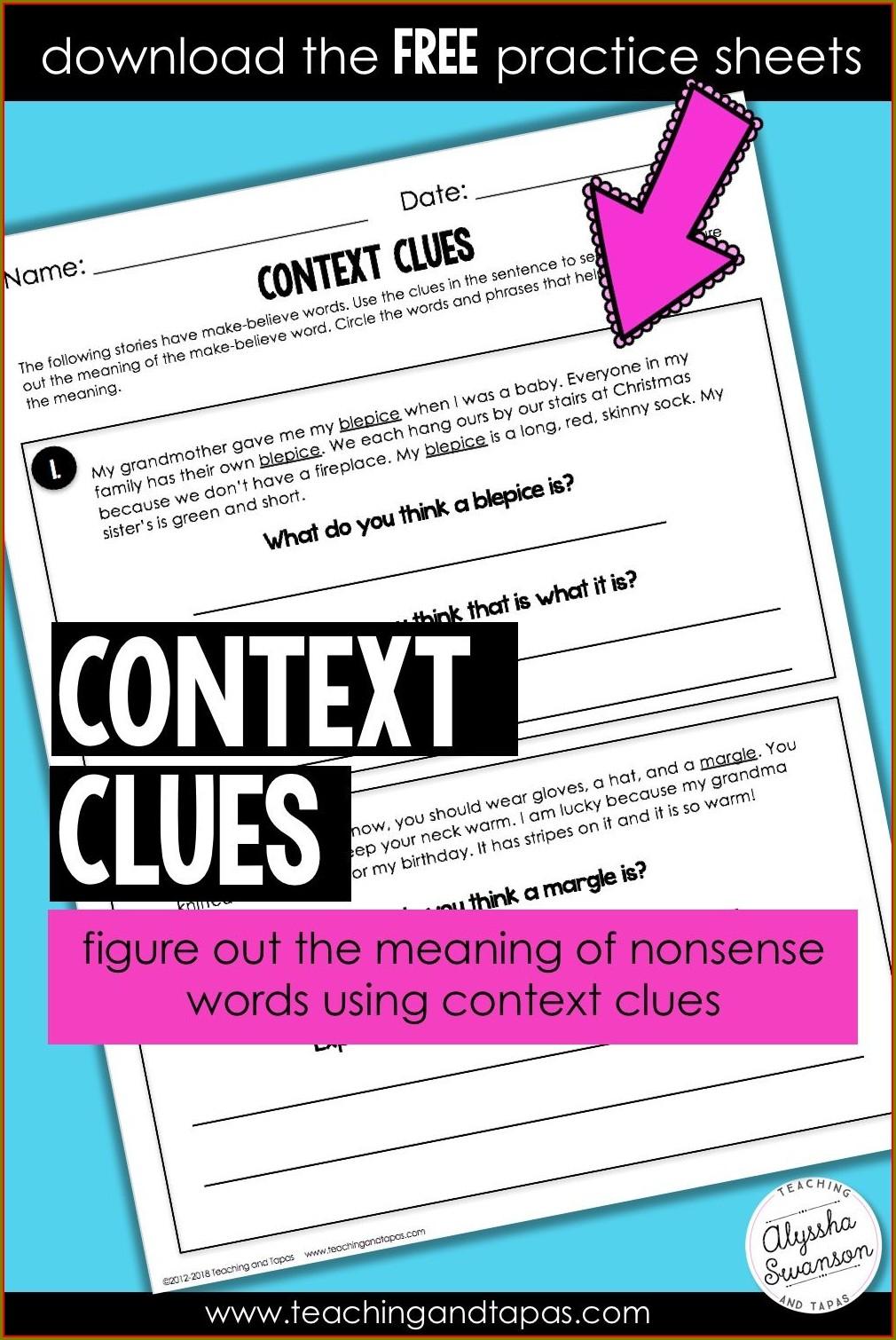 Nonsense Word Context Clues Worksheet