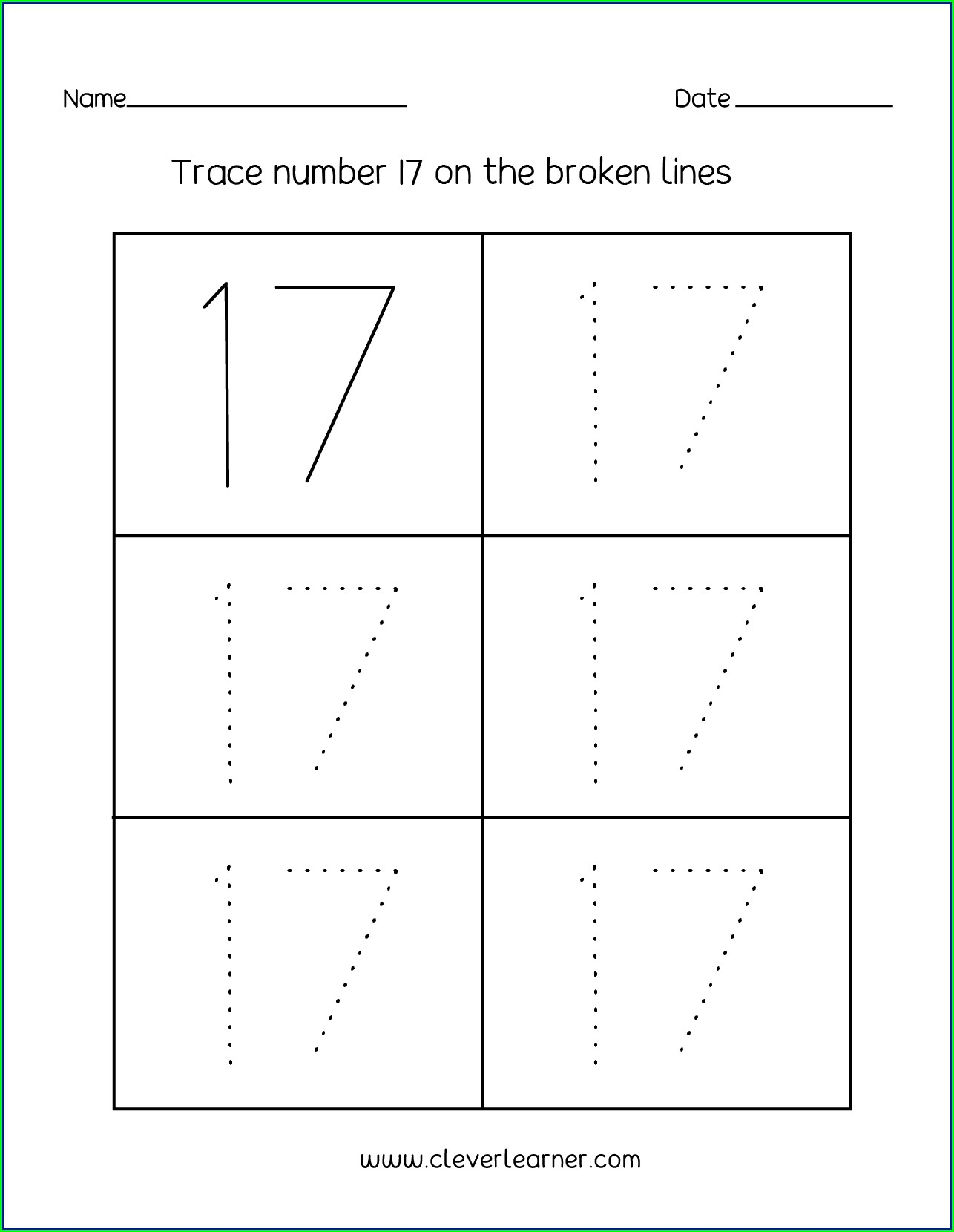 Number 17 Worksheet For Kindergarten