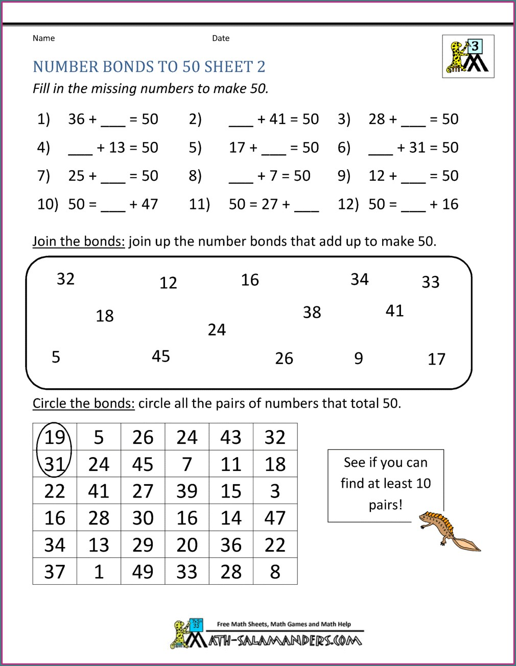 Number Bond Worksheets For Year 2