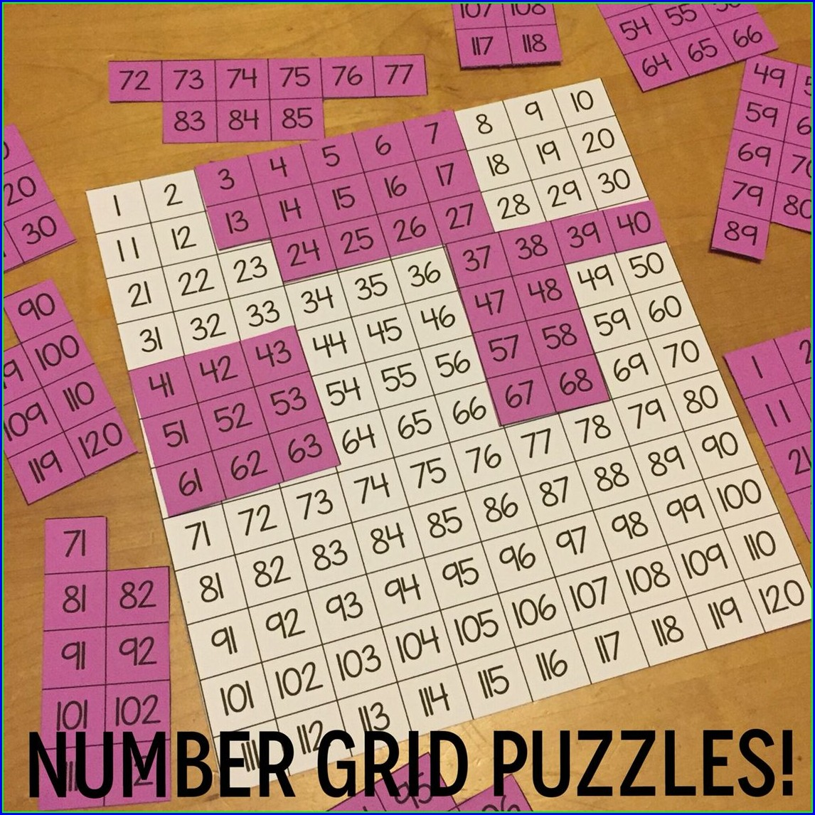 Number Grid Puzzles First Grade Worksheets