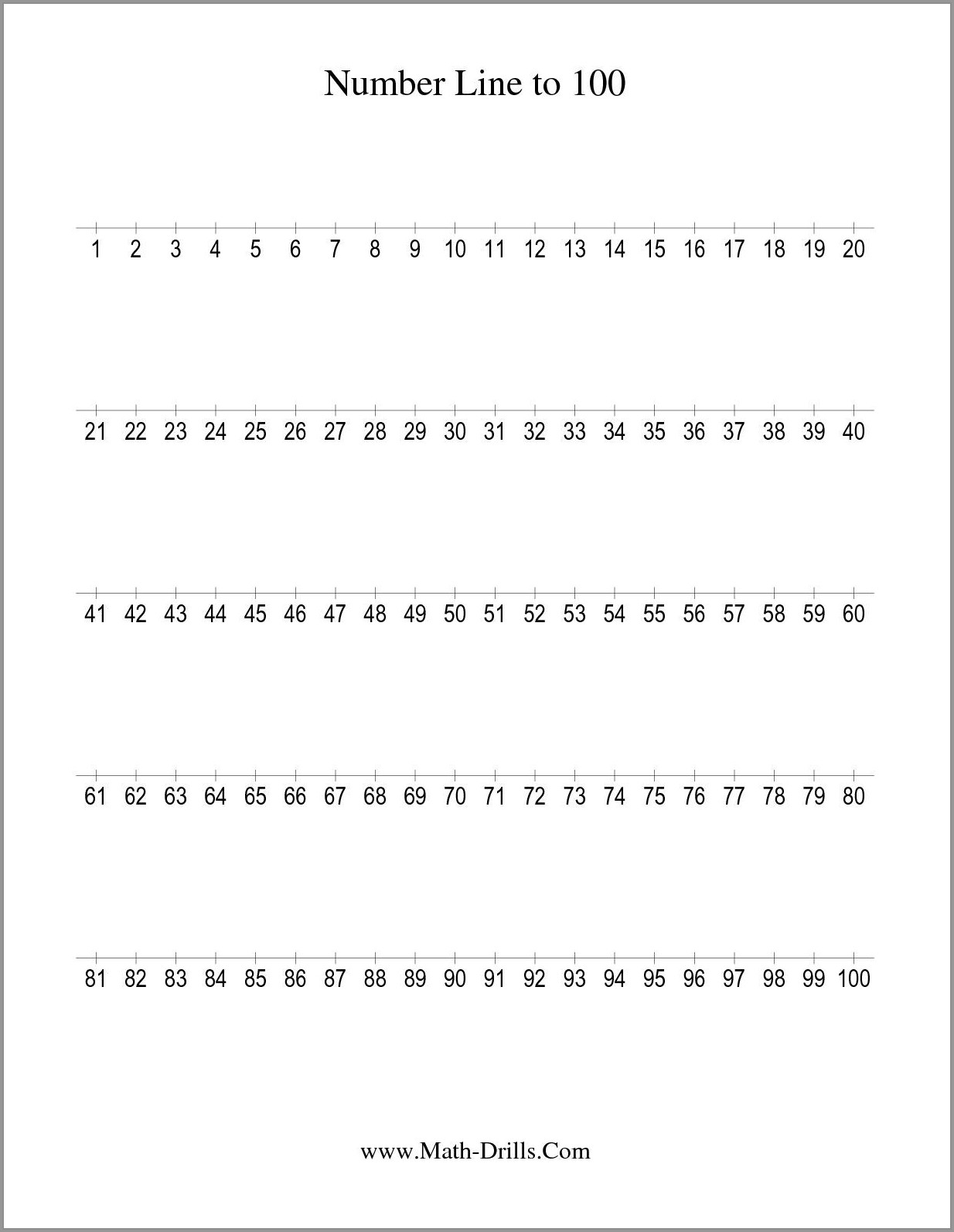 Number Line To 100 Worksheet