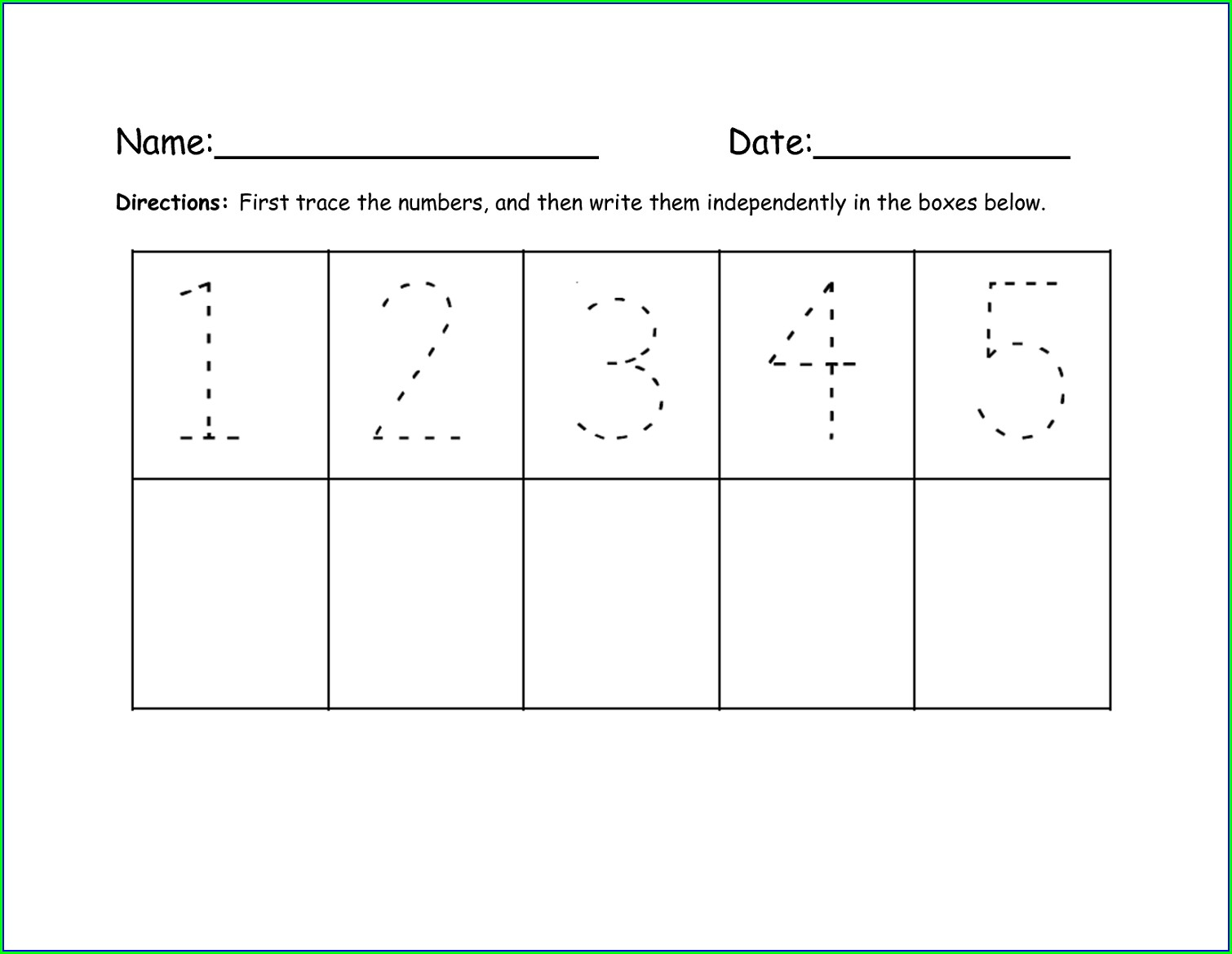 Number Tracing Worksheet 1 5