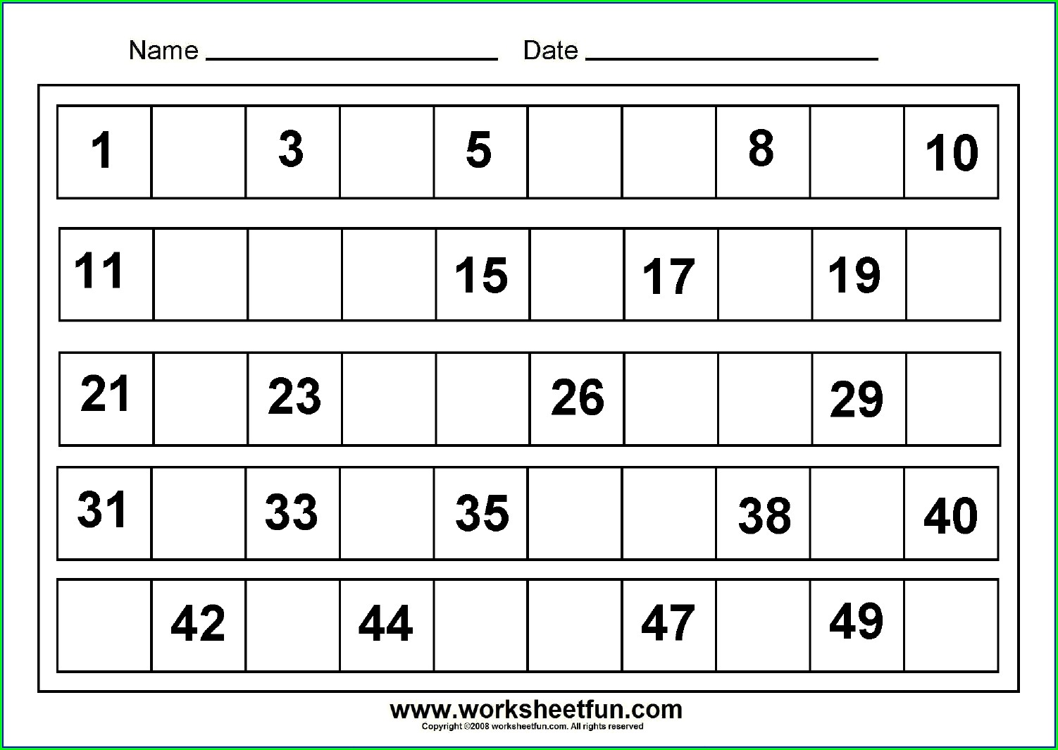 Numbers From 1 To 50 In English Worksheets