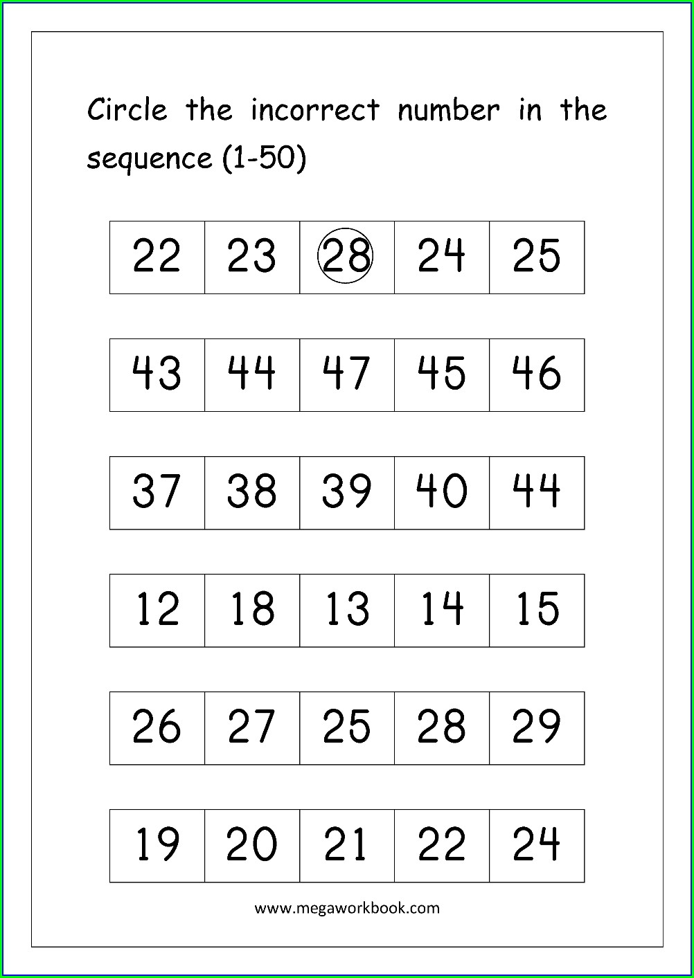 Numbers From 1 To 50 Worksheets