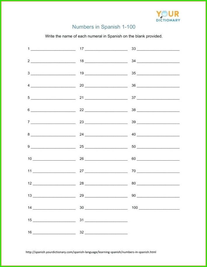 Numbers In Spanish 1 100 Worksheet
