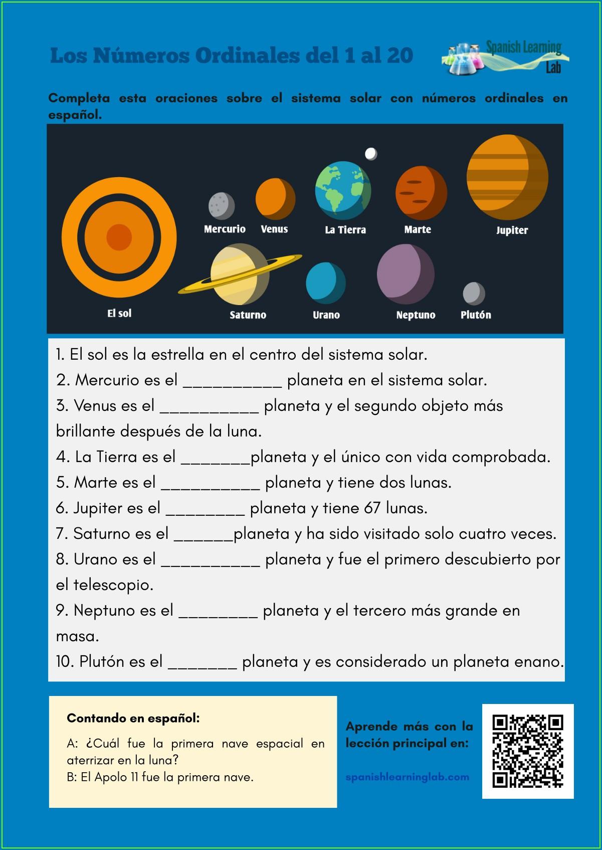 Numbers In Spanish Worksheet Pdf
