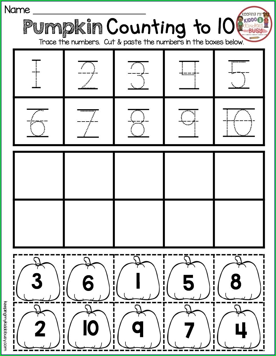 Numbers Worksheet For Kindergarten 1 10
