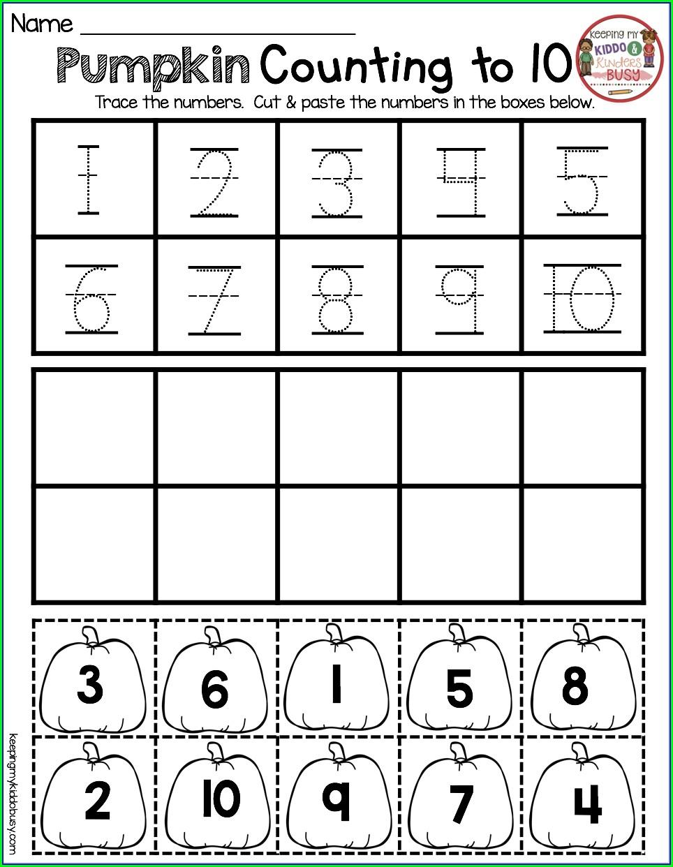 Numbers Worksheet For Kindergarten 1 10