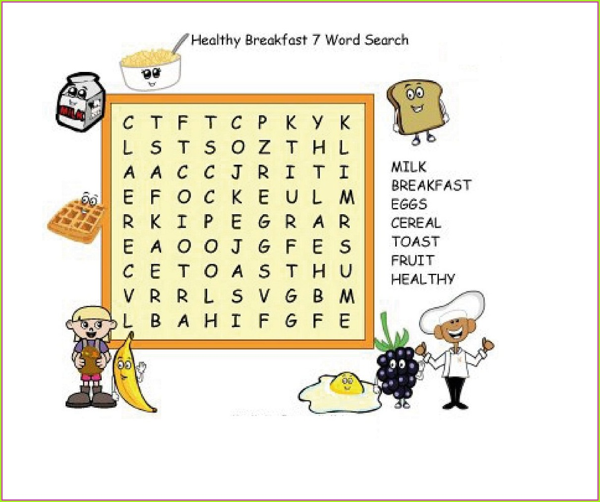 Nutrition Word Search Printable