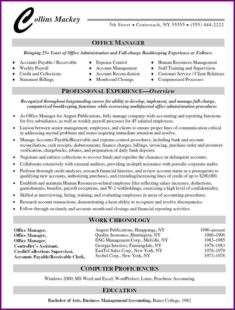 Office Manager Resume Template Free