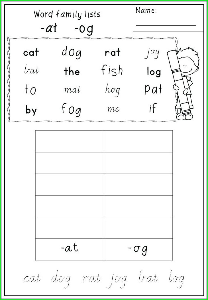 Og Word Family Worksheets For Kindergarten