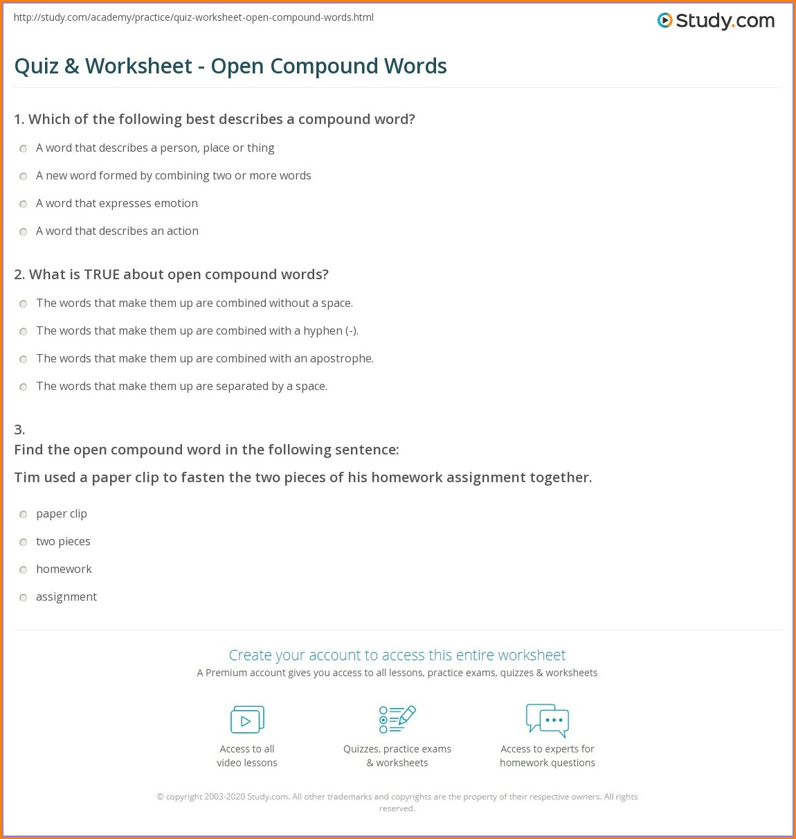 Open Closed Hyphenated Compound Words Worksheets