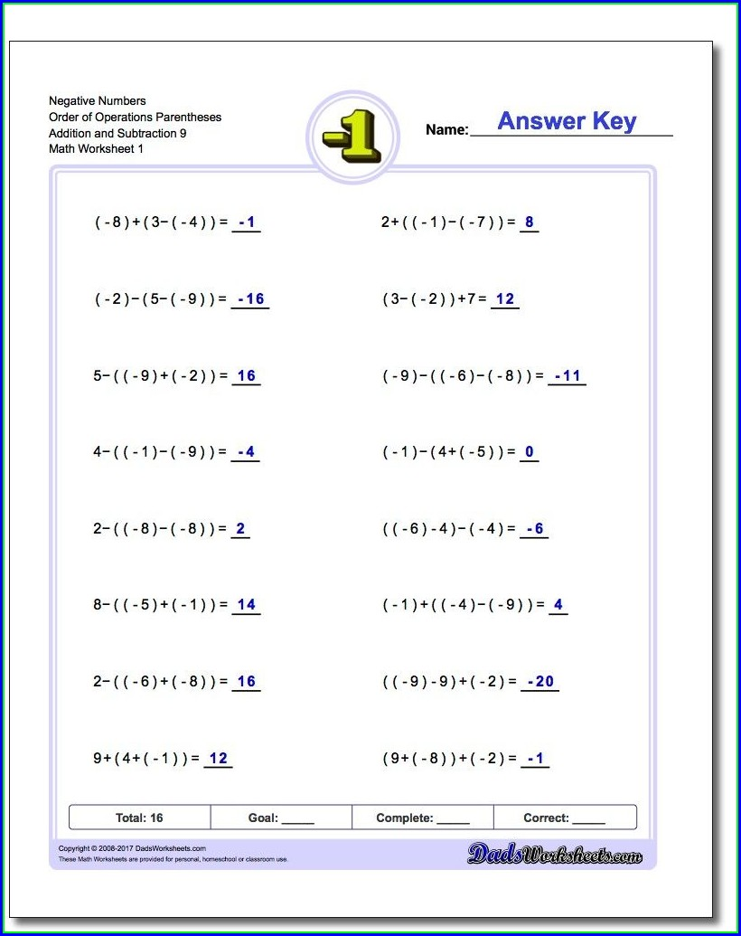 Order Of Operations Addition And Subtraction Worksheet