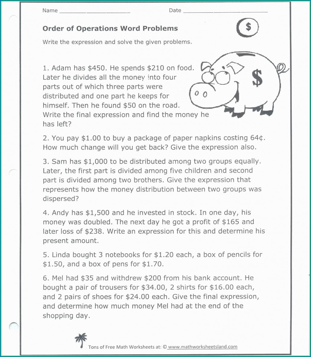 Order Of Operations Math Worksheet Land
