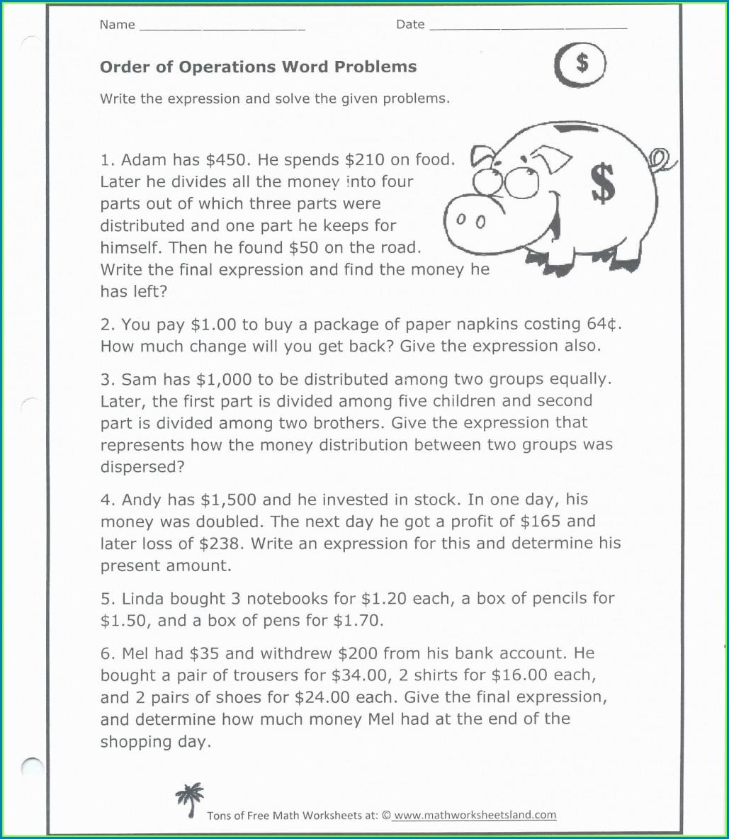 Order Of Operations Math Worksheet Land