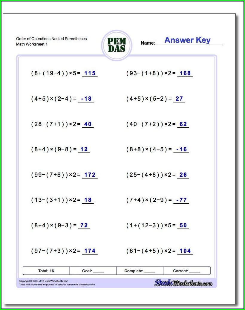 Order Of Operations Rules Worksheet